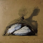 Primitive Stillife # 2 (herring fish in a bag) / © IL 1990-2013 / mixed media 18x24